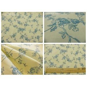 tissu coupon / par 50cm : ALICE bleu fond ivoire dessin grand