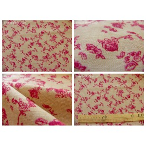 tissu coupon / par 50cm : ALICE chambray rouge dessin grand