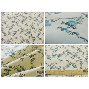 tissu coupon / par 50cm : ALICE gris bleu fond ivoire dessin grand