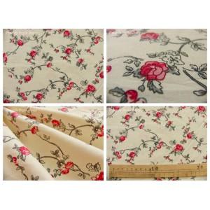 tissu coupon / par 50cm : ALICE gris rouge fond ivoire dessin grand