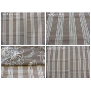 tissu coupon / par 50cm : rayure DANO bleu fond grège