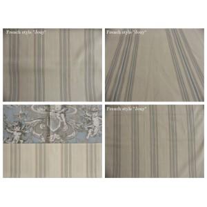 tissu coupon / par 50cm : rayure DANO bleu fond ivoire