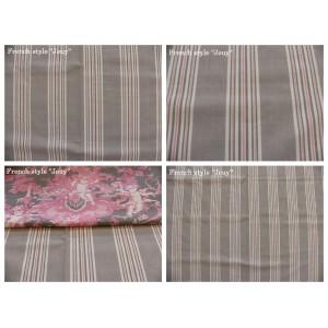 tissu coupon / par 50cm : rayure DANO rose fond grège