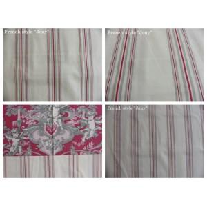 tissu coupon / par 50cm : rayure DANO rouge fond ivoire