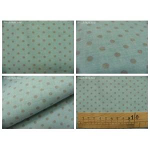 tissu coupon / par 50cm : DOTS gris fond bleu