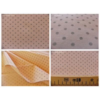 tissu coupon / par 50cm : DOTS gris fond rose