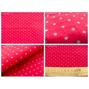 tissu coupon / par 50cm : DOTS gris fond rouge