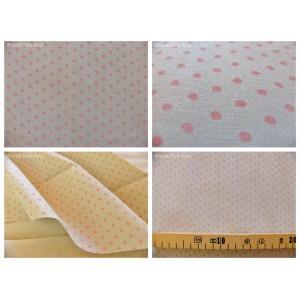 tissu coupon / par 50cm : DOTS rose fond gris