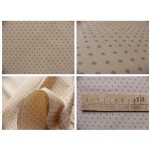 tissu coupon / par 50cm : DOTS taupe fond beige