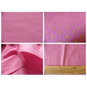 tissu coupon / par 50cm : DOTS vert fond rose