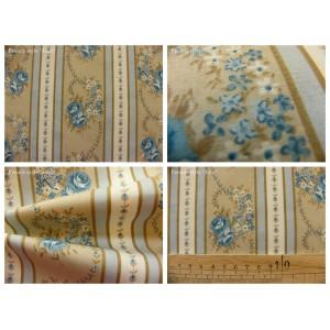 tissu coupon / par 50cm : EVA bleu fond beige