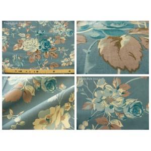 tissu coupon / par 50cm : FLEUR MANON bleu fond bleu