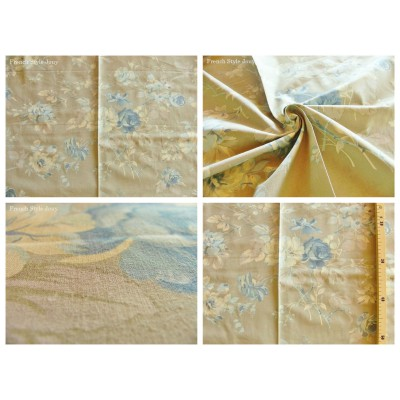 tissu coupon / par 50cm : FLEUR MANON bleu fond grège