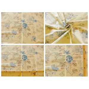 tissu coupon / par 50cm : FLEUR MANON bleu fond ivoire