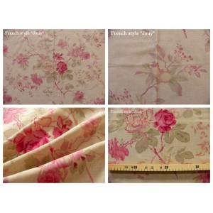 tissu coupon / par 50cm : FLEUR MANON chambray rose