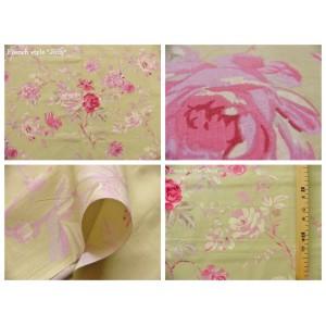 tissu coupon / par 50cm : FLEUR MANON rose fond vert