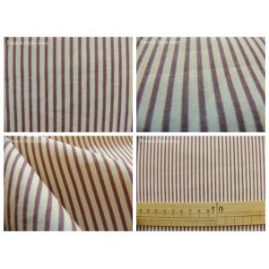 tissu coupon / par 50cm : rayure JAN violet fond ivoire