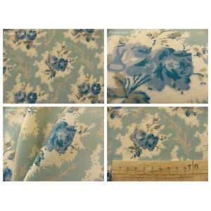 tissu coupon / par 50cm : LEA thé bleu