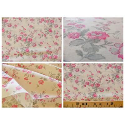tissu coupon / par 50cm : MARION rose fond ivoire
