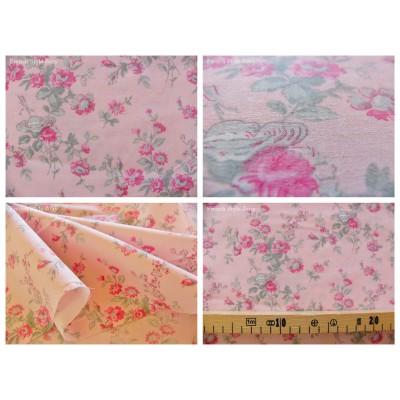 tissu coupon / par 50cm : MARION rose-gris fond rose