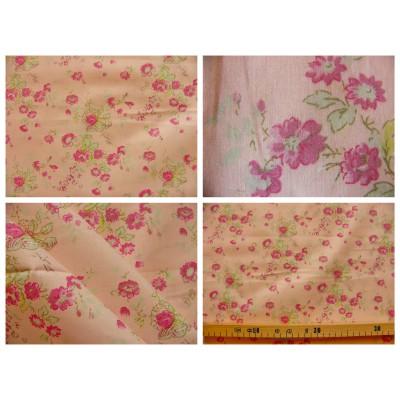 tissu coupon / par 50cm : MARION rose-vert fond rose