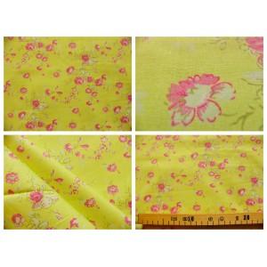 tissu coupon / par 50cm : MARION vert-rose fond vert