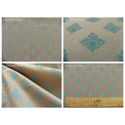 tissu coupon / par 50cm : RATNA bleu fond gris