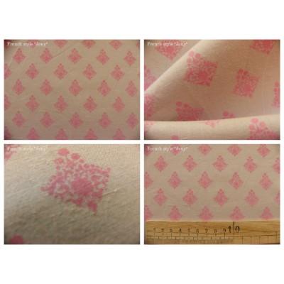 tissu coupon / par 50cm : RATNA rose fond beige