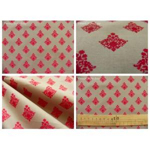 tissu coupon / par 50cm : RATNA rouge fond gris