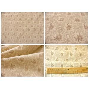 tissu coupon / par 50cm : ROSINE beige fond ivoire