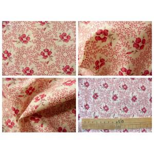 tissu coupon / par 50cm : ROSINE rouge fond ivoire