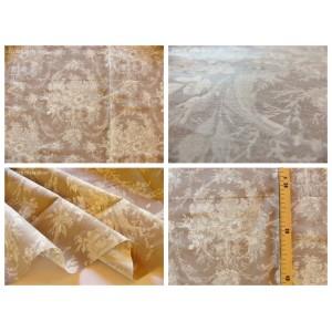 tissu coupon / par 50cm : toile de Jouy MELANIE beige fond taupe