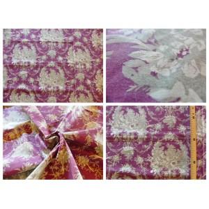 tissu coupon / par 50cm : toile de Jouy MELANIE gris fond violet