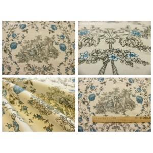 tissu coupon / par 50cm : toile de Jouy PRINCESSE bleu-gris fond ivoire