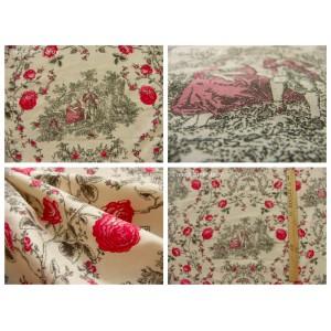 tissu coupon / par 50cm : toile de Jouy PRINCESSE rouge-gris fond ivoire