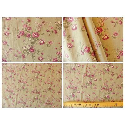 tissu coupon / par 50cm : MARION violet fond grège