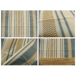 tissu coupon / par 50cm : rayure MARCUS beige fond bleu