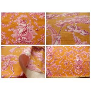 coupon tissu Toile de Jouy LUDIVINE ROSE FD ORANGE