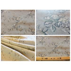 tissu coupon / par 50cm : MARION beige fond gris clair