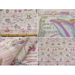 coupon tissu Cupcake (pastel, imprimé)