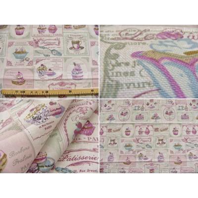 tissu coupon / au mètre : Cupcake (pastel, imprimé)