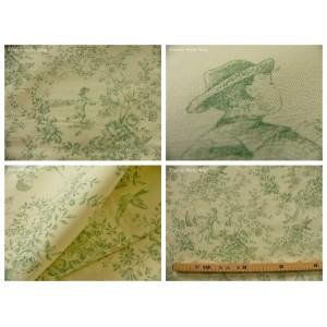 coupon tissu Toile de Jouy LE PARC MONCEAU (vert)