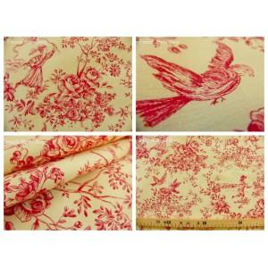 coupon tissu Toile de Jouy LE PARC MONCEAU (rouge)