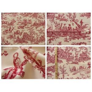 coupon tissu Delices des 4 saisons (toile, rouge fond crème)