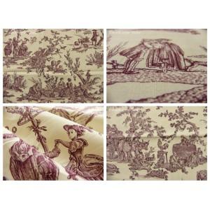 coupon tissu Delices des 4 saisons (toile, violet fond crème)