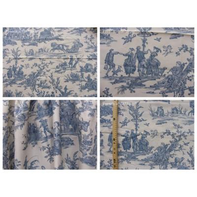 coupon tissu Delices des 4 saisons (toile, bleu fond crème)