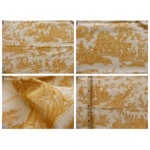coupon tissu Delices des 4 saisons (toile, jaune fond crème)