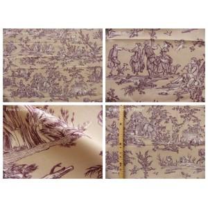 coupon tissu Delices des 4 saisons (toile, violet fond grège)