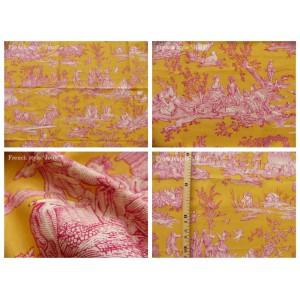 coupon tissu Delices des 4 saisons (toile, rose fond jaune)