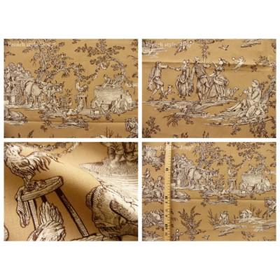 coupon tissu Delices des 4 saisons (toile, marron fond beige)